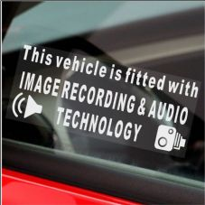 1 x  Image Recording and Audio Technology Fitted Warning Window Stickers-CCTV Sign-Car,Taxi-200mm
